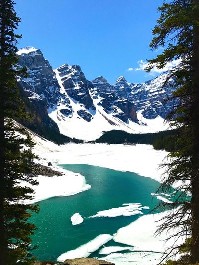 Scenic view of snowcapped mountains and lake against clear blue sky