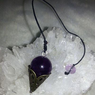 DIY紫晶靈擺 可問問題,占卜!尚有其他水晶選擇!歡迎訂造! 紫晶 靈擺 水晶 礦石 天然水晶
