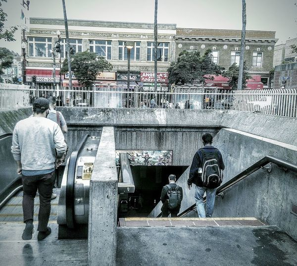 My Commute 24th Street  San Francisco CA🇺🇸 Bart Station Bart Rider Stairs Taking Photos Street Photography People Watching Eyeem Black And White Photography My Photography (: My Point Of View Pedestrians Walking Black And White With A Splash Of Colour Rainy Day Photography Black And White Street Photography Subway Station Bart Is Hiring Transportation Subway Train Commuters Employment Opportunities Public Transportation Subway Photography My Photography And Edit