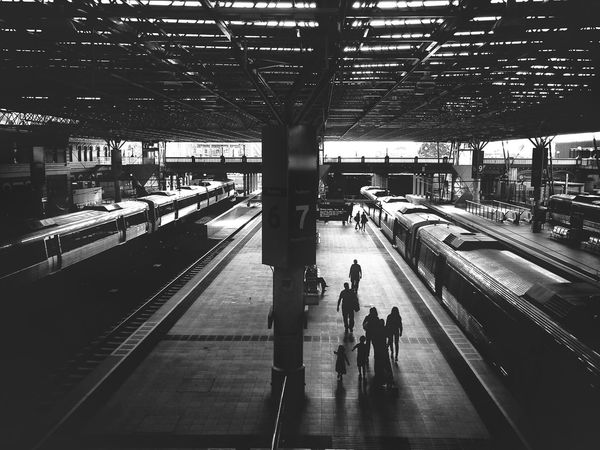 Commuters on platform Public Transportation Commuting Blackandwhite Traveling