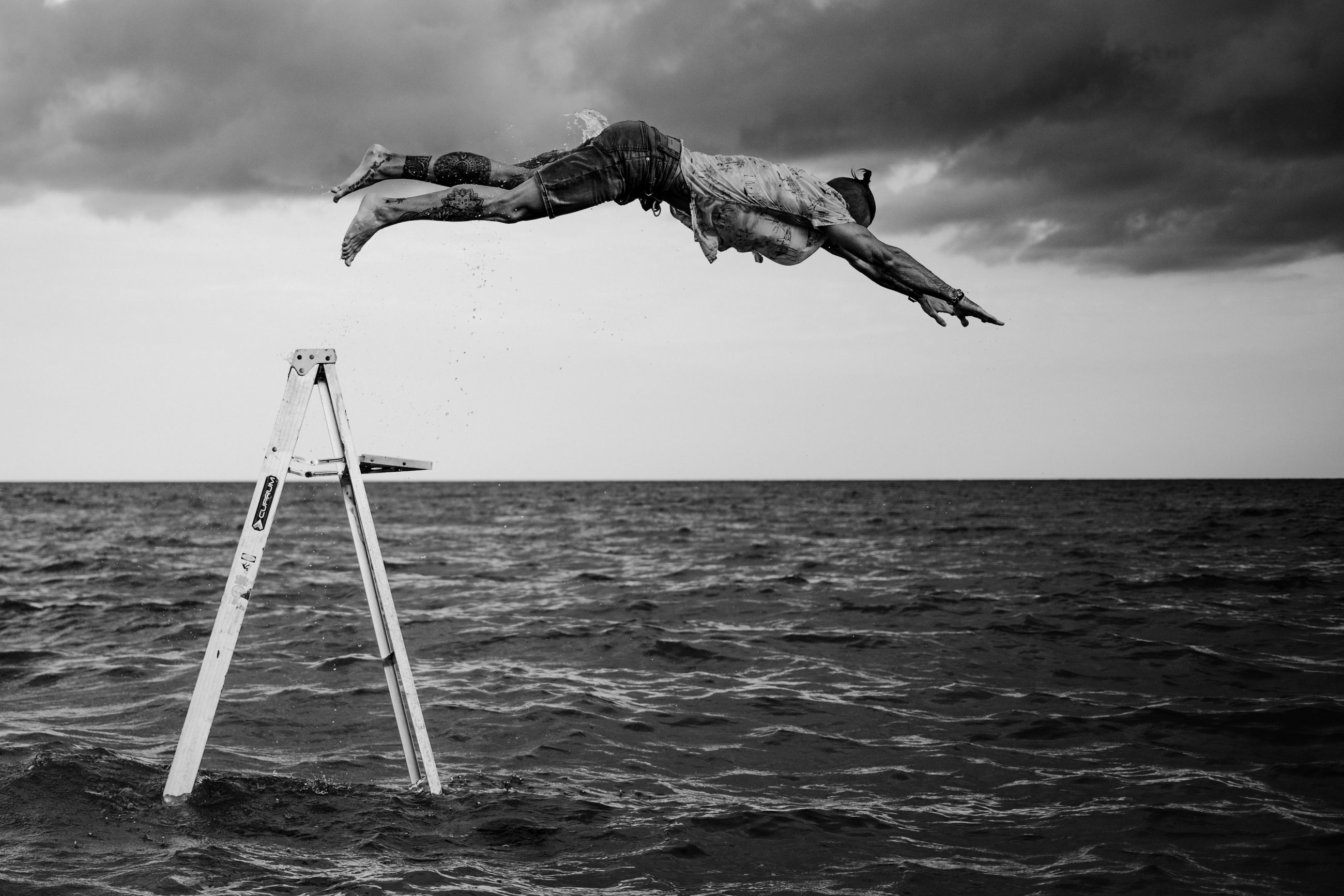 water, sea, sky, black and white, monochrome photography, horizon, monochrome, cloud, horizon over water, nature, wind, ocean, wave, beauty in nature, land, scenics - nature, motion, black, day, outdoors, animal, mid-air, beach, jumping