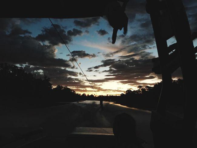 Murray river Sunset Sky Cloud - Sky Silhouette Transportation Car Mode Of Transport