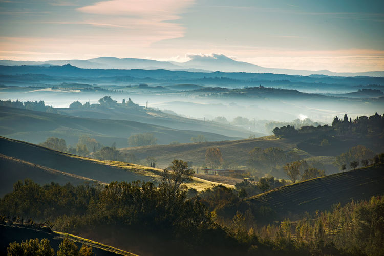 Crete Senesi Nature, Color Siena, Italy Tuscany, Italy Wintertime Foggy Morning Hills And Valleys Idyllic Landscape Mountain No People Outdoors Rural Scene Scenics Sunset Tranquil Scene Tranquility Tree