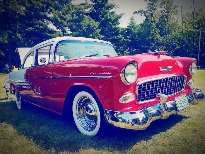 Red 55 Chevy Old School Car Transportation 1955 Land Vehicle