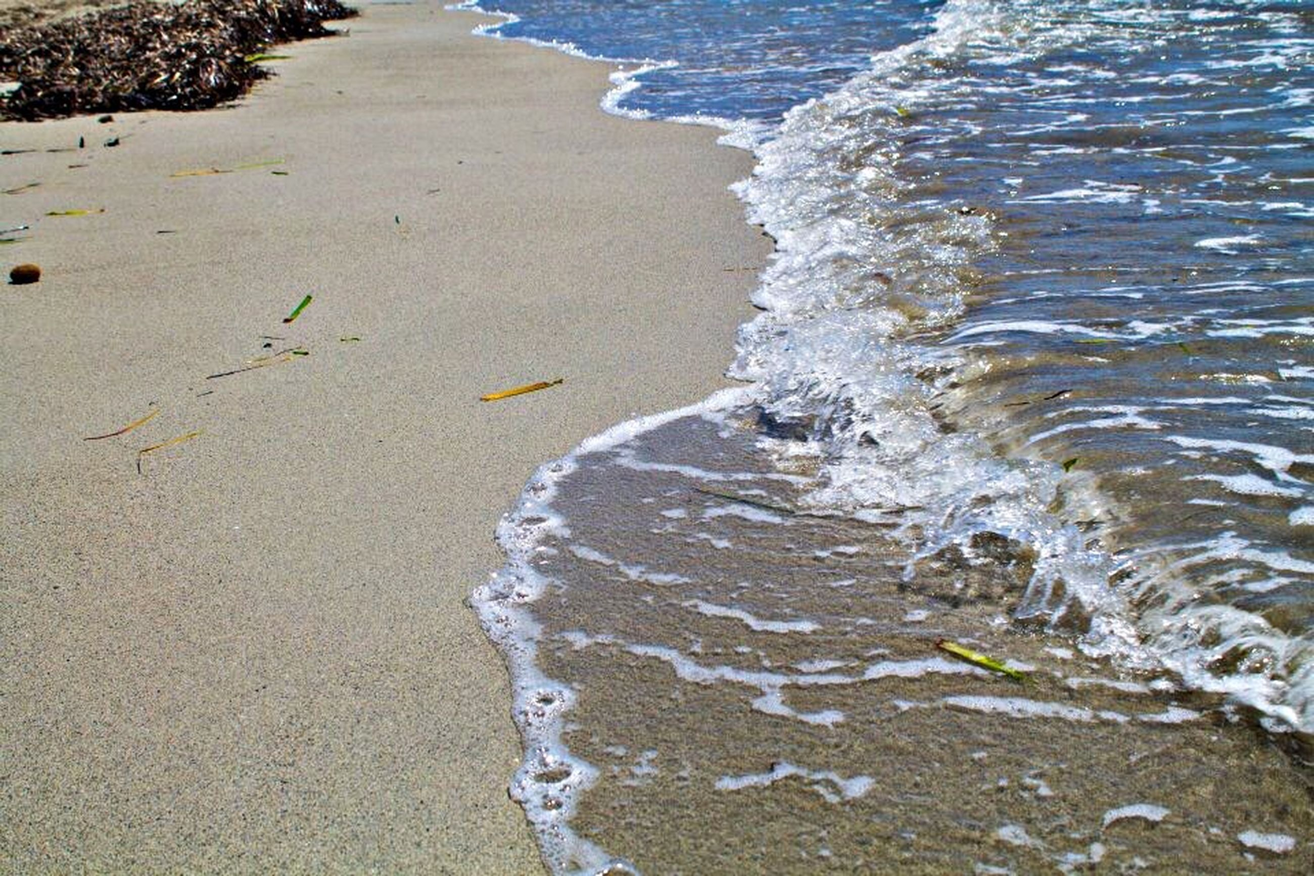 water, surf, beach, shore, sea, wave, sand, high angle view, wet, motion, nature, splashing, beauty in nature, tranquility, day, outdoors, no people, sunlight, footprint, coastline
