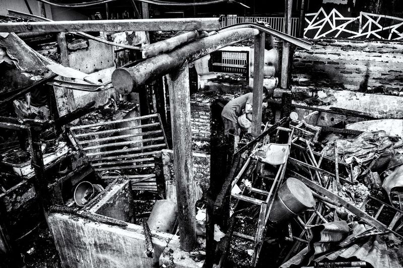 High angle view of abandoned machine