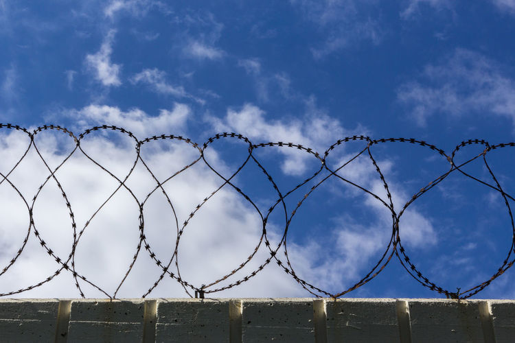 Low angle view of razor wires on surrounding wall against sky