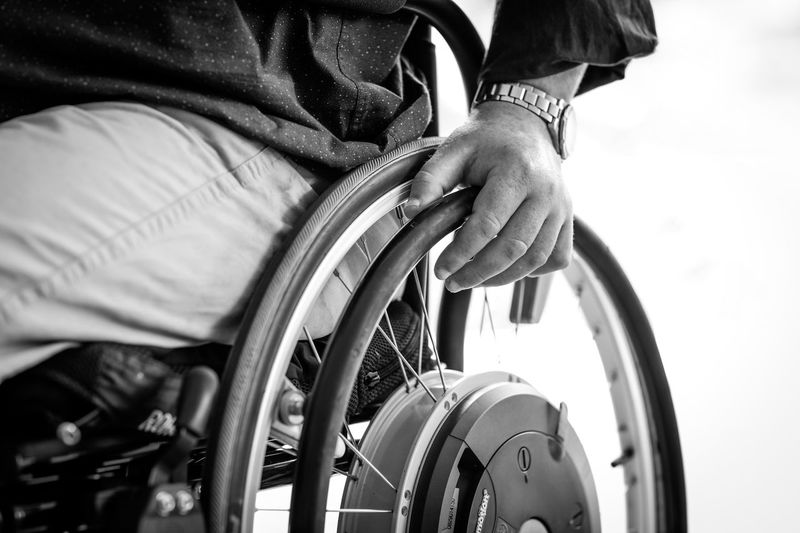 Wheelchair Wheelchair Blackandwhite Disabled Disability  Medical Equipment Differing Abilities Mode Of Transportation Day Physical Impairment Lifestyles Sitting Real People Human Hand