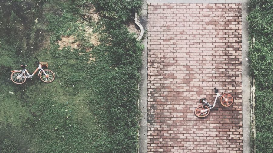 Bicycle High Angle View Transportation Day Mode Of Transportation Land Vehicle Plant Nature Outdoors Green Color Directly Above Built Structure Street Real People Leisure Activity Grass Architecture Lifestyles