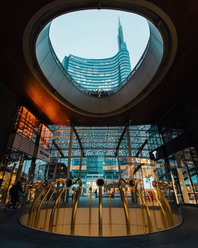 Sky is the limit! Cesar Pelli Lombardia Italy Italia Architecture Streetphotography Street Photography Building Exterior Unicredit Tower Milan Milano Indoors  Modern Fish-eye Lens Day Building Exterior City EyeEmNewHere