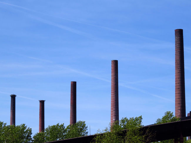 Architectural Column Blue Blue Sky Bricks Built Structure Chimney Chimney Tops Contrail Essen City Industrial Industrial Landscapes Industriekultur Industry Landscape Ruhrgebiet Scenics Sky Smoke Stack Stack Tall Tall - High Urban Landscape Vapour Trails Weltkulturerbe Zeche Zollverein