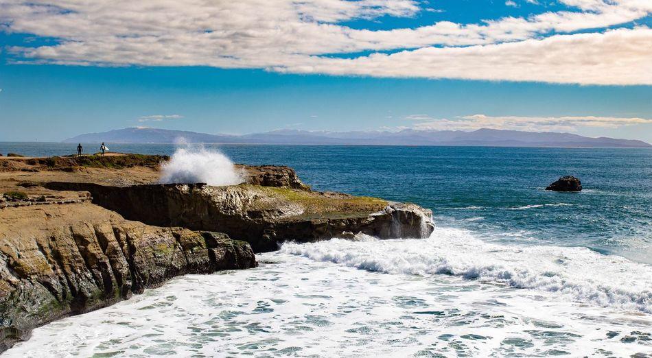 eyes on the pacific Santa Cruz EyeEm Selects Sea Water Beauty In Nature Sky Wave Beach Splashing Motion Aquatic Sport Land Nature Scenics - Nature Power In Nature Power Day Cloud - Sky Surfing Rock Sport Breaking My Best Photo