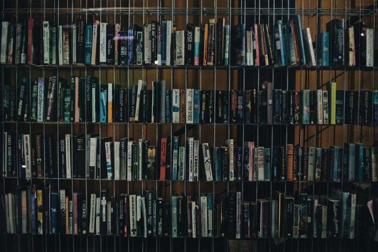 Full frame shot of books in shelves