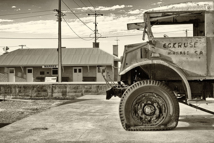 An old Postal truck at Maree South Australia Flat Tire Blackandwhite Flat Tyre Land Vehicle Mode Of Transport Outback Australia Outdoors Tire Transportation Truck Vintage Vintage Trucks
