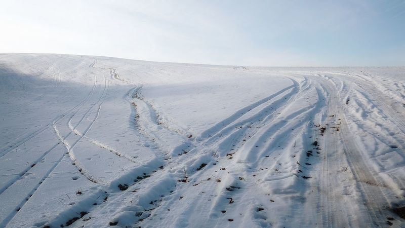 Beauty In Nature Cold Temperature Day Horizon Over Land Landscape Nature No People Outdoors Pasinovice Ski Track Sky Snow Tire Tracks Tire Tracks In Snow White White Color Winter
