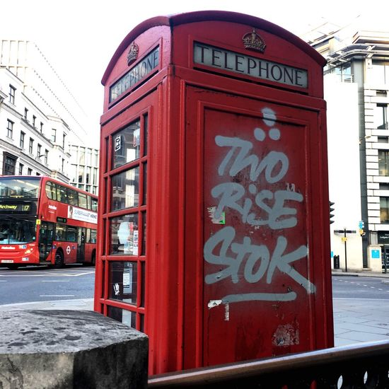 Telephone Booth Pay Phone Red London Graffiti