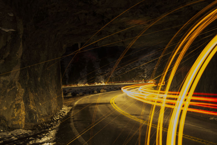 Light Painting On Road At Night