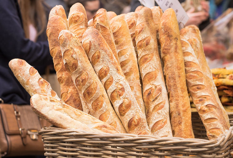 Baguette Baguettes Baked Goods Bakery Basket Bread Breads Focus On Foreground Food For Sale French Bread Fresh Fresh Bread Healthy Eating Incidental People Market Market Stall Market Stand Organic Food Retail  Sale Tasty