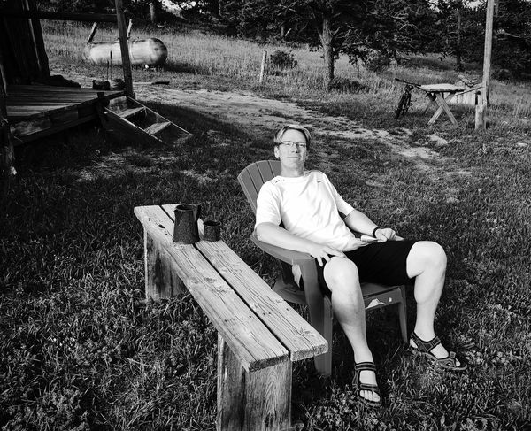 Testing out the lounge chair My Fiance  Portrait IPhoneography Sitting Real People One Person Men Seat Full Length Day Relaxation Outdoors Sunlight Nature