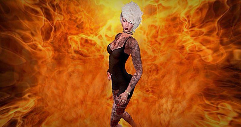 Burning Flame Heat - Temperature Secondlife Comic Avatar Inferno