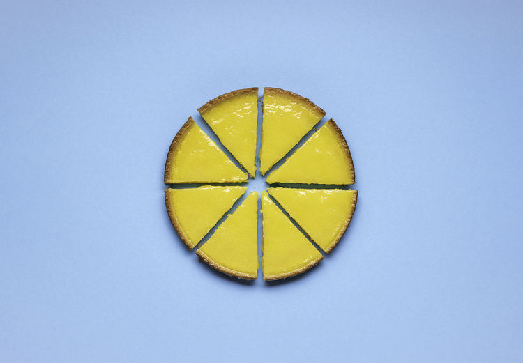 Directly above shot of lemon slice against white background