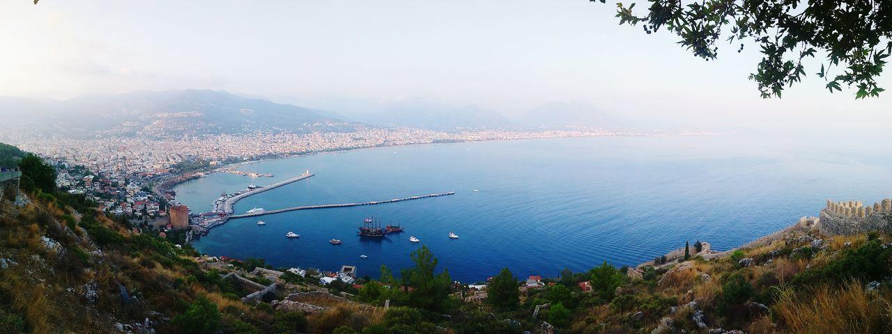 Seascape Landscape Sea Panorama Panoramic Panoramic Photography Panoramic View Panoramic Landscape High Angle View Turkey Antalya Alanya Water Vehicle Sailing Boat Sailboat Boat Yachting Yacht Horizon Over Water