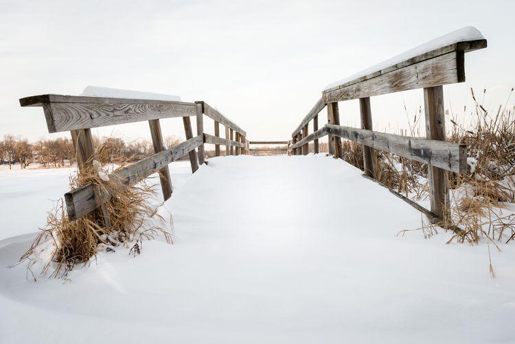 View of snow covered bridge