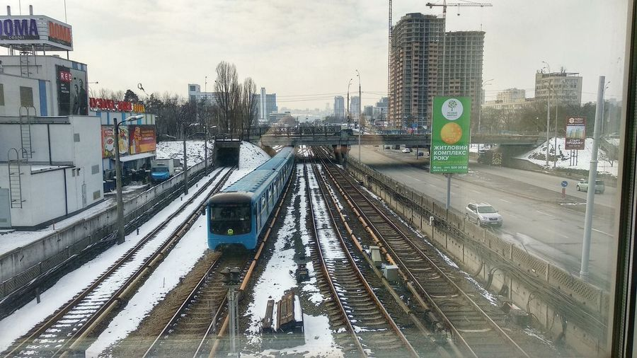 "Станция метро ""Дарница"" / #Киев #Київ #Kyiv Kyiv Kyiv,Ukraine City Transportation Winter Railroad Track Cold Temperature Public Transportation Skyscraper No People Cityscape Urban Skyline"