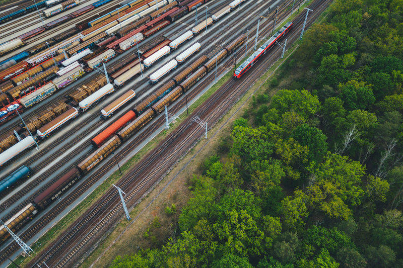 High angle view of train on railroad track