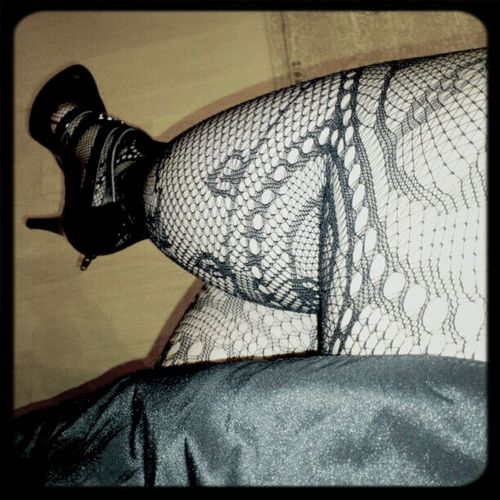 Hanging Out Feet Legs Fishnet Heels High Heels Tights My Tights Today