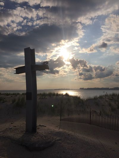 9/11 Memorial at Breezy Point Sky Religion Cloud - Sky Tranquility No People Sunset Tranquil Scene Sunlight Outdoors Scenics Horizon Over Water Nature Sea Day Water Beauty In Nature 9/11 Memorial Metal