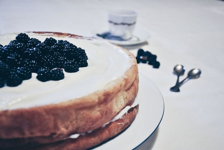Fresh blackberries decorated on cake