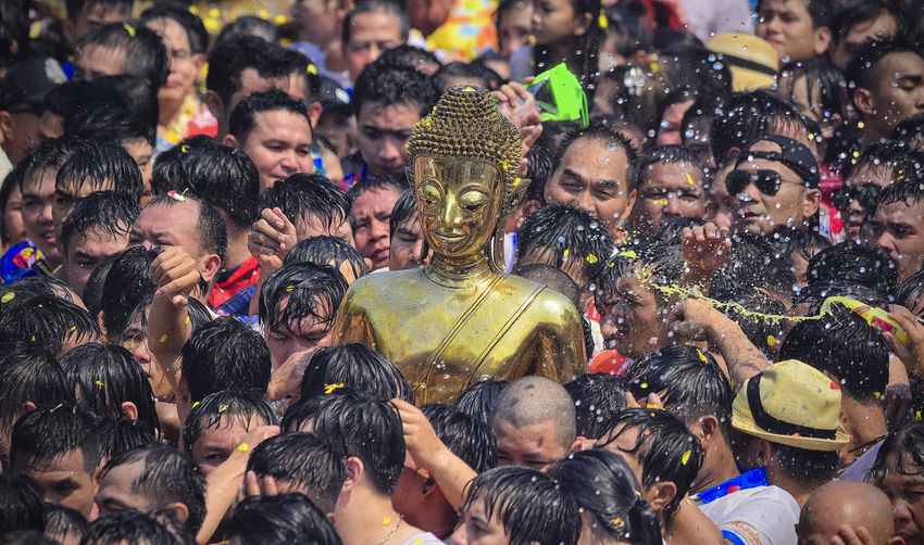Luang Pho Phra Sai relied on the minds of the people of Nong Khai. Buddha Songkran Festival Songkran Festival Day Thailand Buddhism Buddhist Temple Rian Water