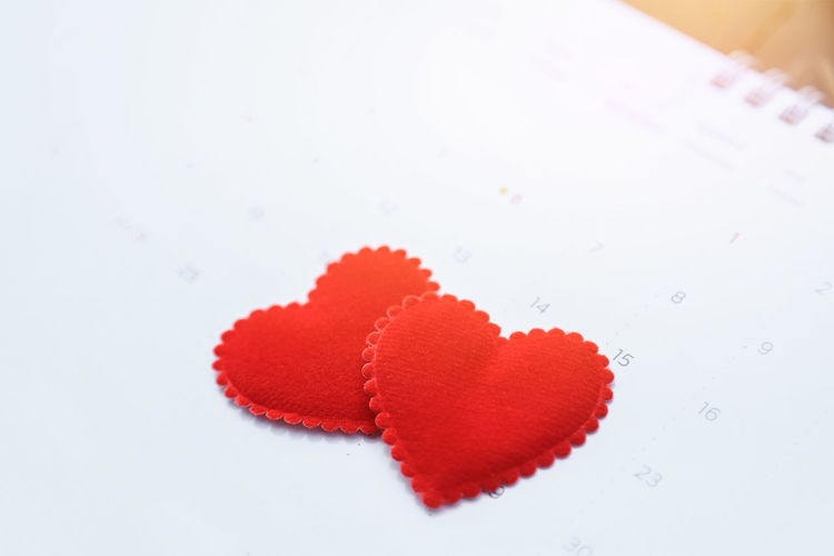 Close-up of heart shape on white background