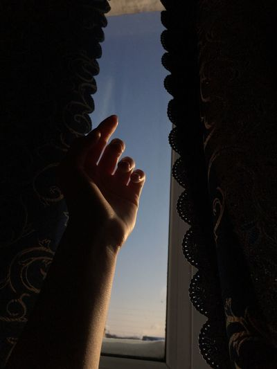 Close-up of silhouette hand against sky