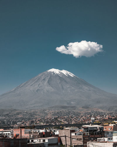Arequipa views. Architecture City Cityscape Latin America Misti Beauty In Nature Built Structure City Day Idyllic Minimal Mountain Mountain Peak Mountain Range Nature No People One Cloud Outdoors Scenics Snowcapped Mountain South America Tranquil Scene Travel Destinations Volcanic Crater Volcano