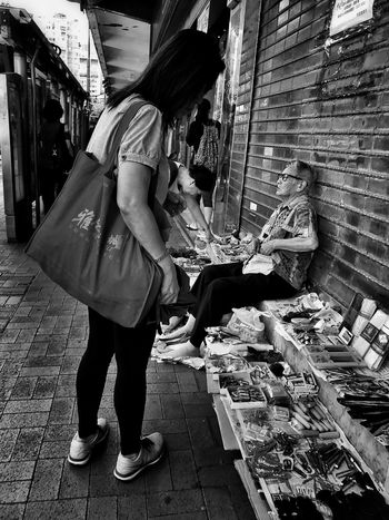 Full Length Lifestyles Transportation Leisure Activity Walking Casual Clothing Childhood Side View Person City City Life Mode Of Transport Well-dressed Day Outdoors Black And White Photography Black & White Hong Kong Blackandwhite HongKong