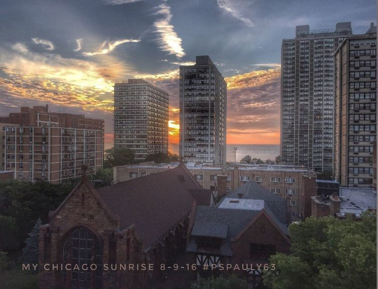 My morning view out of my windows and on my patio the morning of August 9, 2016. Such brilliant sunrises and beautifully shaped clouds. Breathtaking views. Architecture Cloud - Sky Skyscraper Outdoors City Life Architecture Cityscape Beauty In Nature Chicago Pspauly63