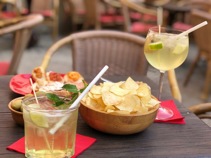 Close-up of food and drinks on table