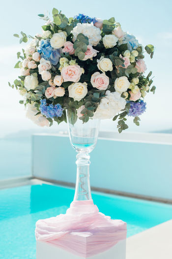 Close-up of flower vase on table