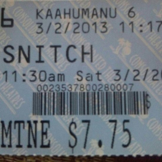 I enjoy watching Snitch earlier. =)) Great movie tho. Now watching breaking dawn part 2 Ü