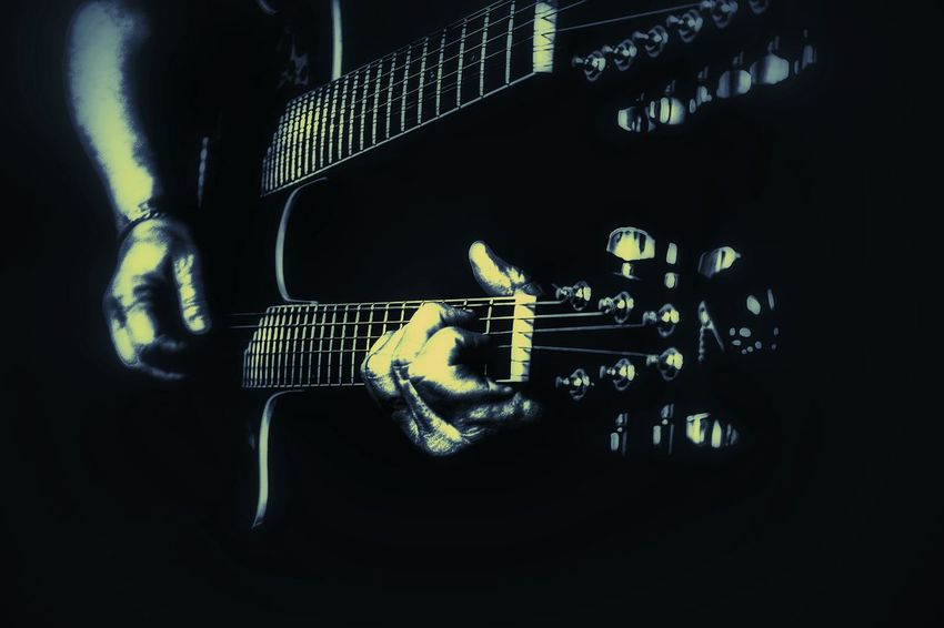 Playing Guitar Selective Focus Black Background Music Guitar Musician Rock'n'Roll Double Neck Guitar Blue And GoldGuitar Player Guitar Strings