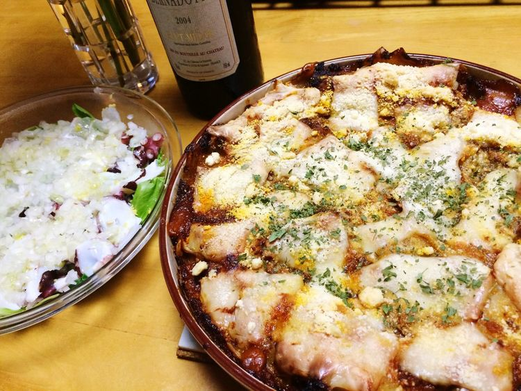 Today'Dinnerer !! Lasagna , cCarpaccioand Wine ❤️