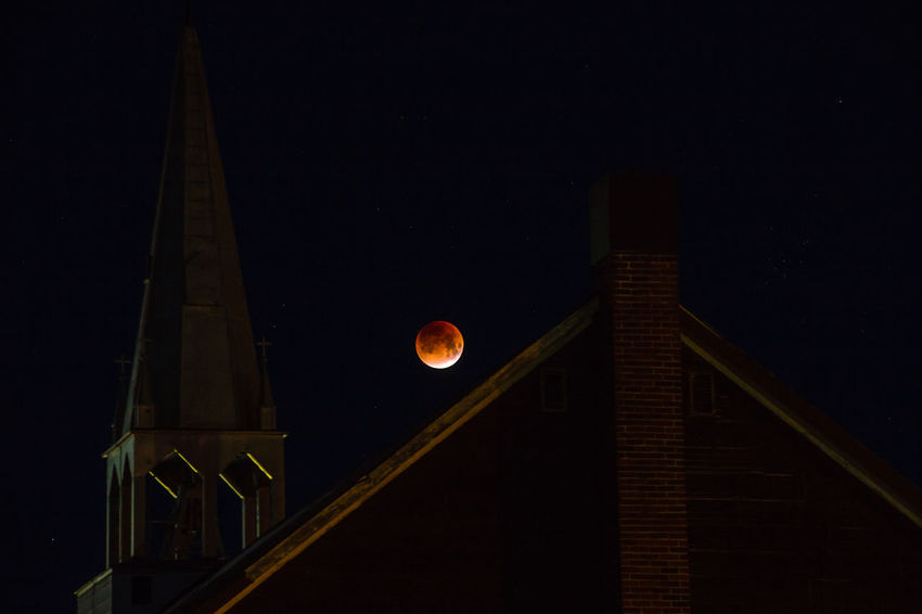 Architecture Astronomy Bloodmoon Building Exterior Built Structure Canada Low Angle View Moon Nature Night No People Outdoors Sky Space Super Moon