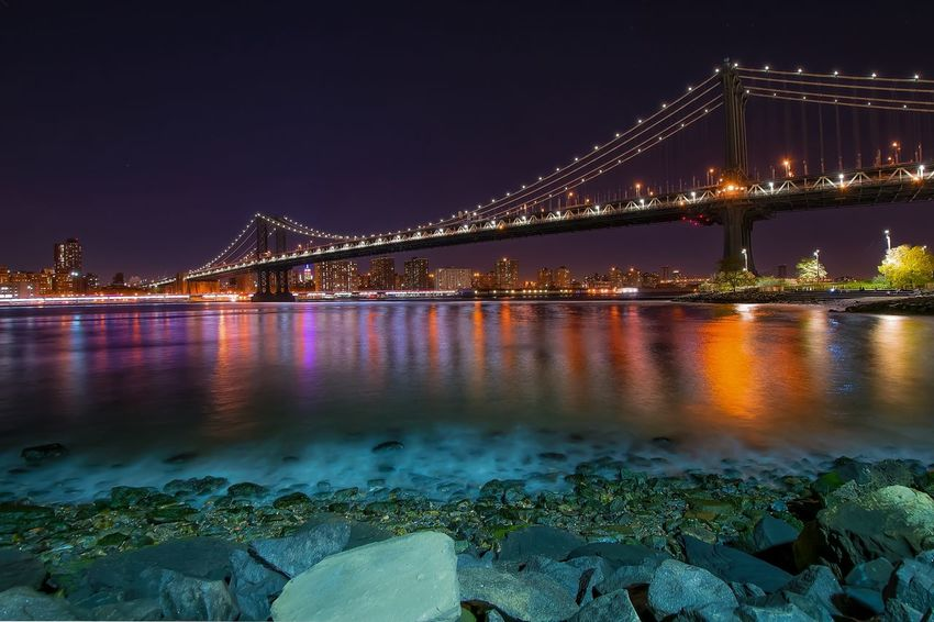 Bridge Brookly City Landscape_Collection Longexposure Manhattan Skyline Night Lights Slow Shutter Brooklyn Bridge / New York Cityscapes NYC Longexposurephotography Manhattan New York