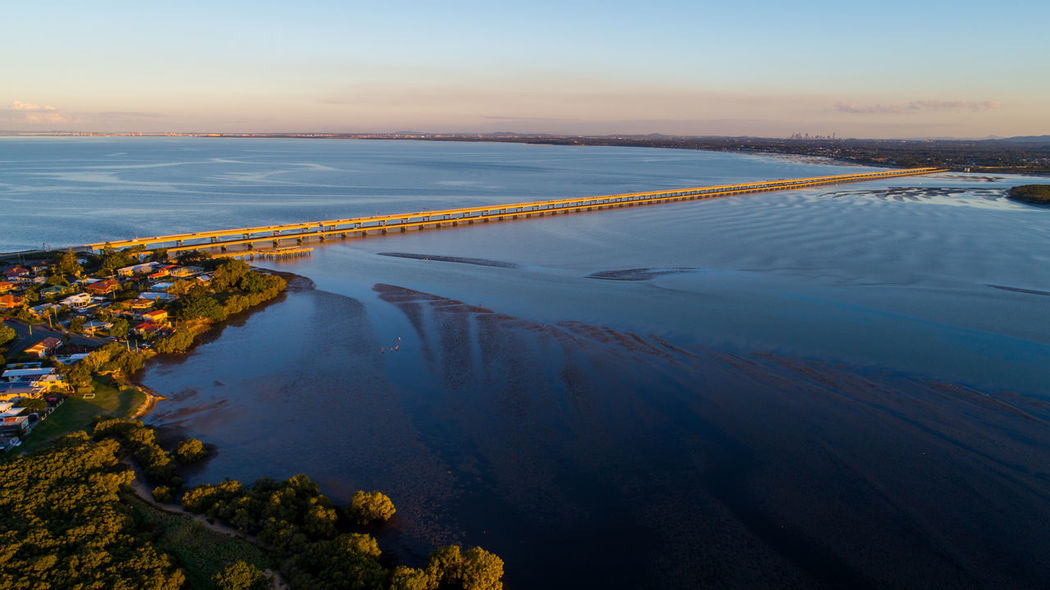 The Houghton Highway bridges between Redcliffe and Brighton, Queensland, Australia Bridges Brisbane Drone  Moreton Bay Beach Beauty In Nature Bridge Day High Angle View Idyllic Land Nature Outdoors Queensland Redcliffe Scenics - Nature Sea Sky Sunset Tranquil Scene Tranquility Water