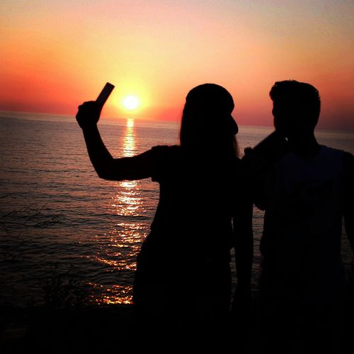 Sunset Brother & Sister Two People Greece