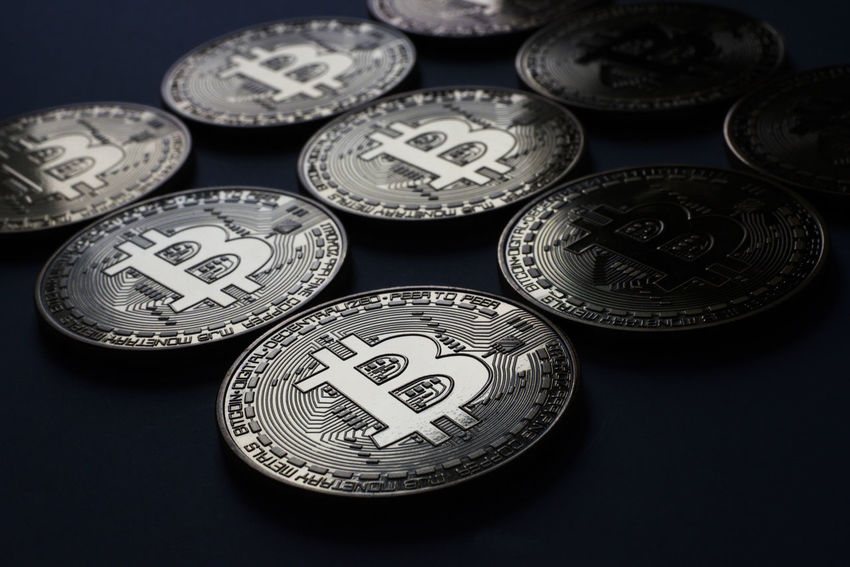 Close-up low angle view of multiple Bitcoin coins in dark environment. Currency Fiat Gold Trading Algorithm Banking Bitcoin Block Chain Close-up Close—up Coin Cryptocurrency Decentralized Digital Future Indoors  Investing Macro Mining Money Multiple No People Peer To Peer Transactions Wealth