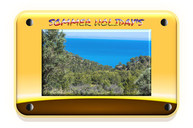 Summer timeIllustration with picture of a mediterranean landscape in the middle. Shield design with gradient background and copy space Yellow Tree Communication No People Plant Text Nature Mode Of Transportation Day Public Transportation Outdoors Transportation Window Rail Transportation Metal Western Script Beauty In Nature Design Land Vehicle #NotYourCliche Love Letter