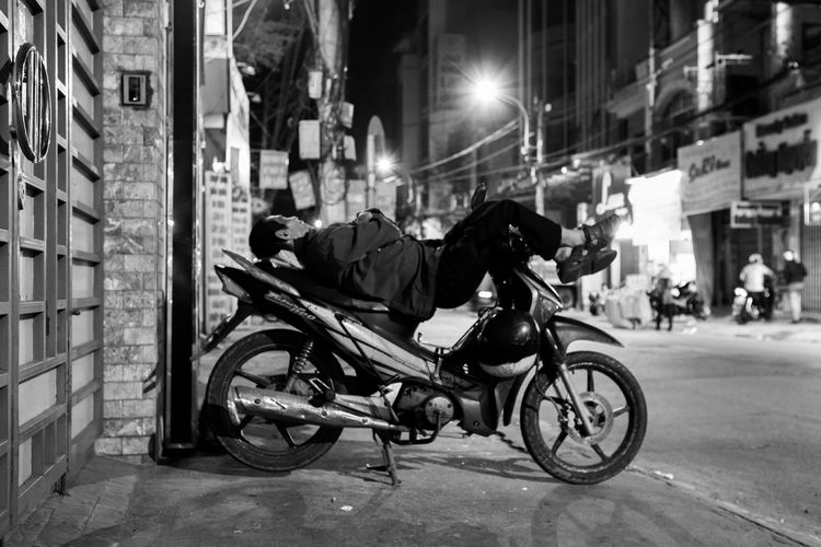 Monochrome Photography Saigon Vietnam Hard Working Tired Vietnamese Man Hot Summer Nights Protector Ho Chi Minh City Survival Travel Motorcycles Without Protection Sleep Citylife Streetphotography Blackandwhite Mode Of Transport Land Vehicle Night Silence City Street Bicycle Mode Of Transport